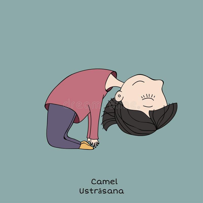 Представление йоги ребенк Верблюд иллюстрация штока