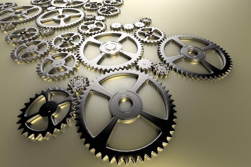 Представление концепции индустрии и инженерства через набор cogwheels бесплатная иллюстрация
