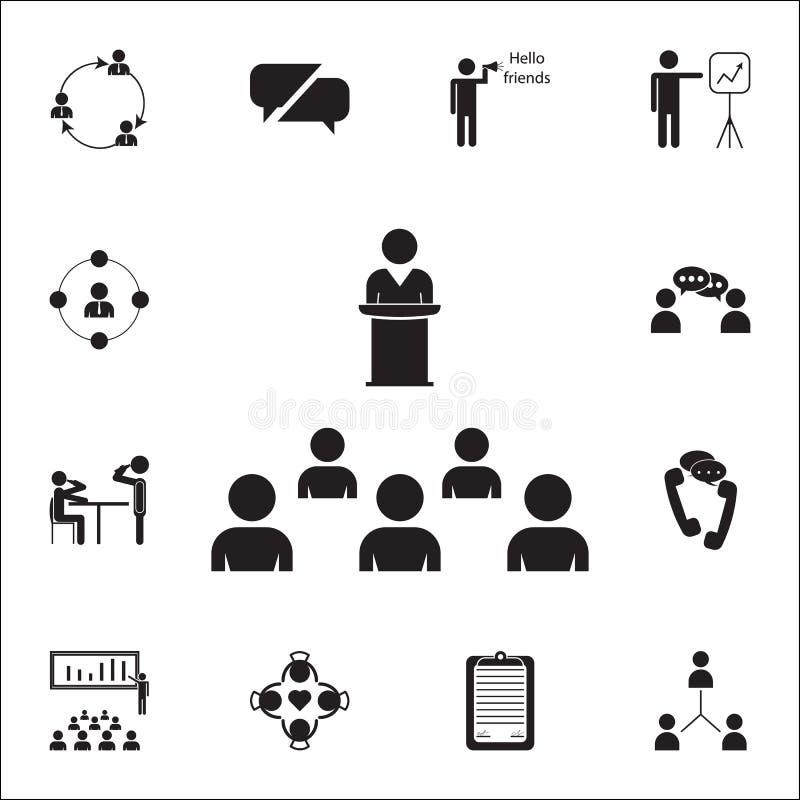 представление к значку аудитории Комплект значков переговора и приятельства всеобщий для сети и черни бесплатная иллюстрация