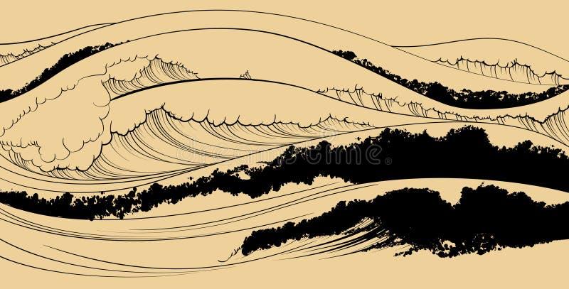 Представление моря в японском типе бесплатная иллюстрация