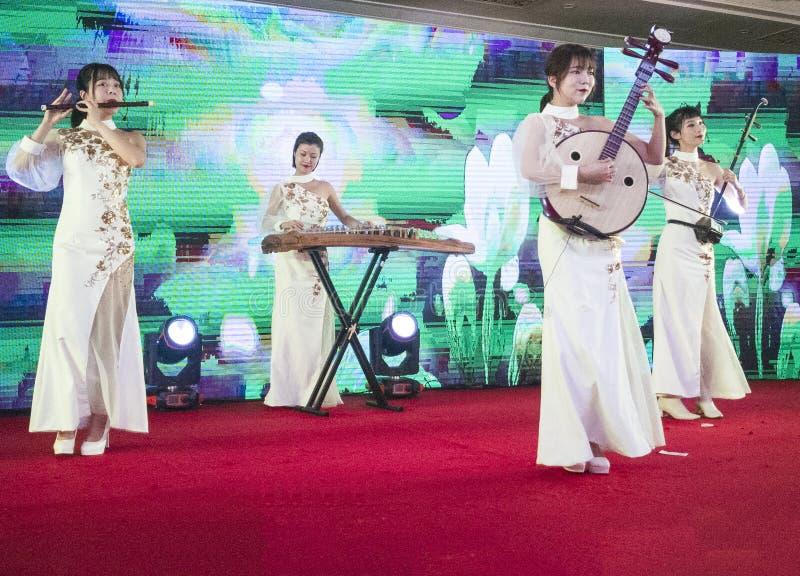 Представление музыкального инструмента в Чэнду, фарфоре стоковая фотография rf