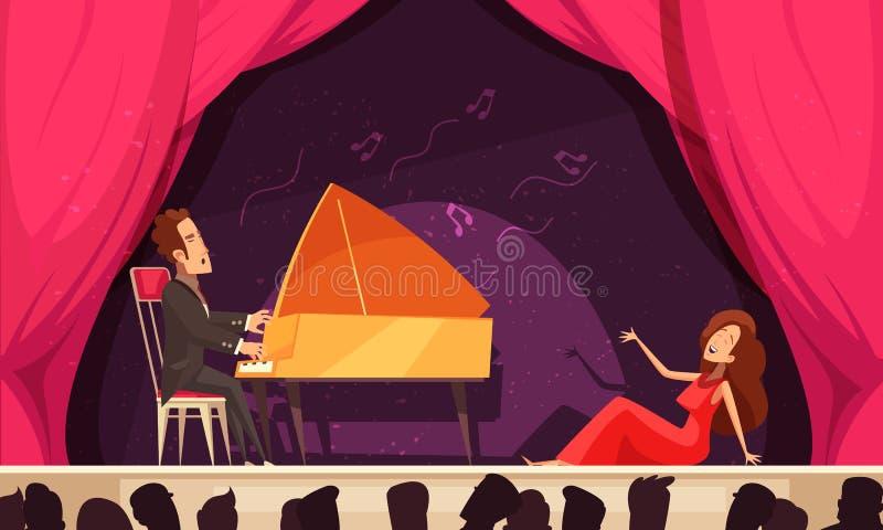 Представление оперы театра плоско иллюстрация вектора