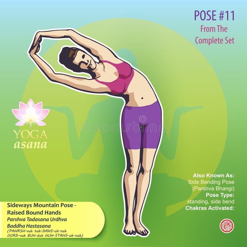Представление 11 представления горы йоги косое иллюстрация штока