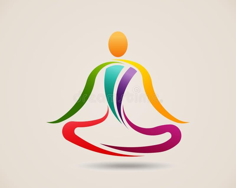 Представление раздумья йоги Иллюстрация дизайна вектора логотипа иллюстрация вектора