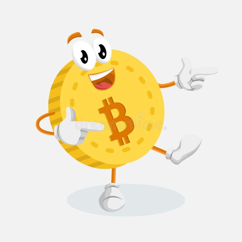 Представление талисмана логотипа Bitcoin высокое иллюстрация вектора