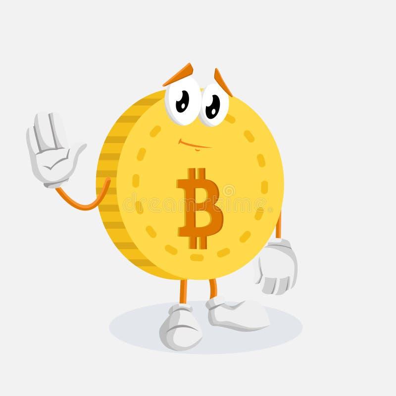 Представление талисмана логотипа Bitcoin до свидания иллюстрация штока