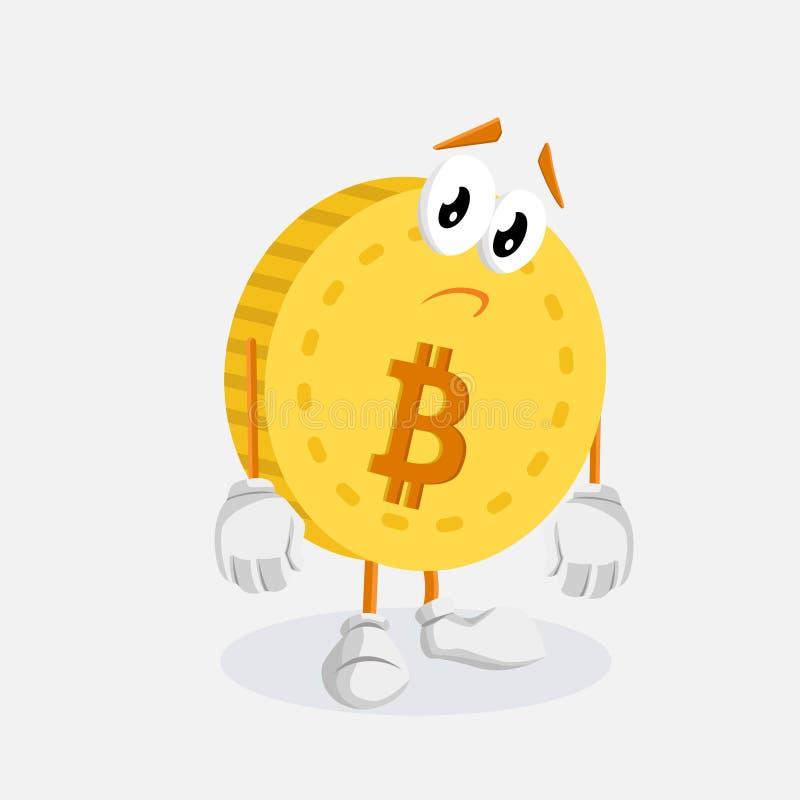Представление талисмана логотипа Bitcoin унылое иллюстрация штока