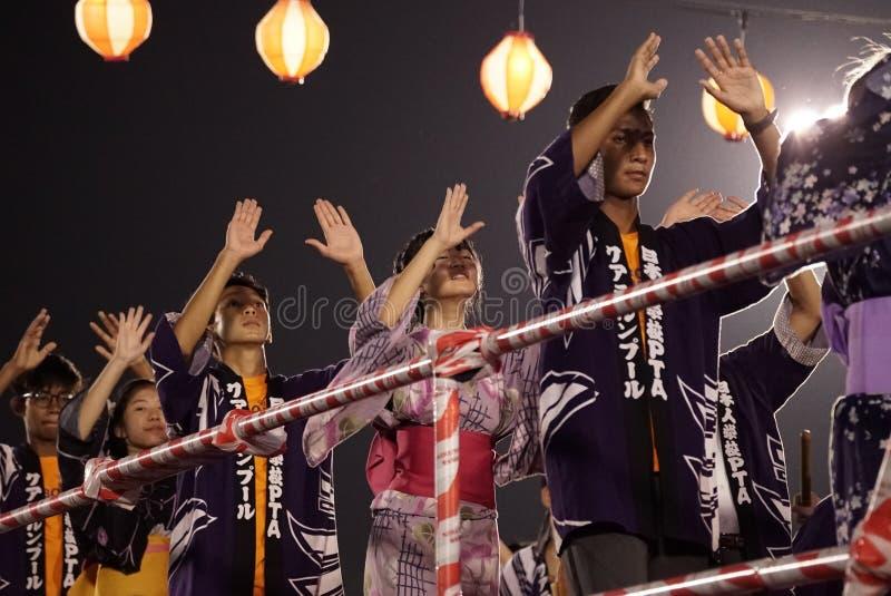 Представление танца Odori Bon стоковое изображение