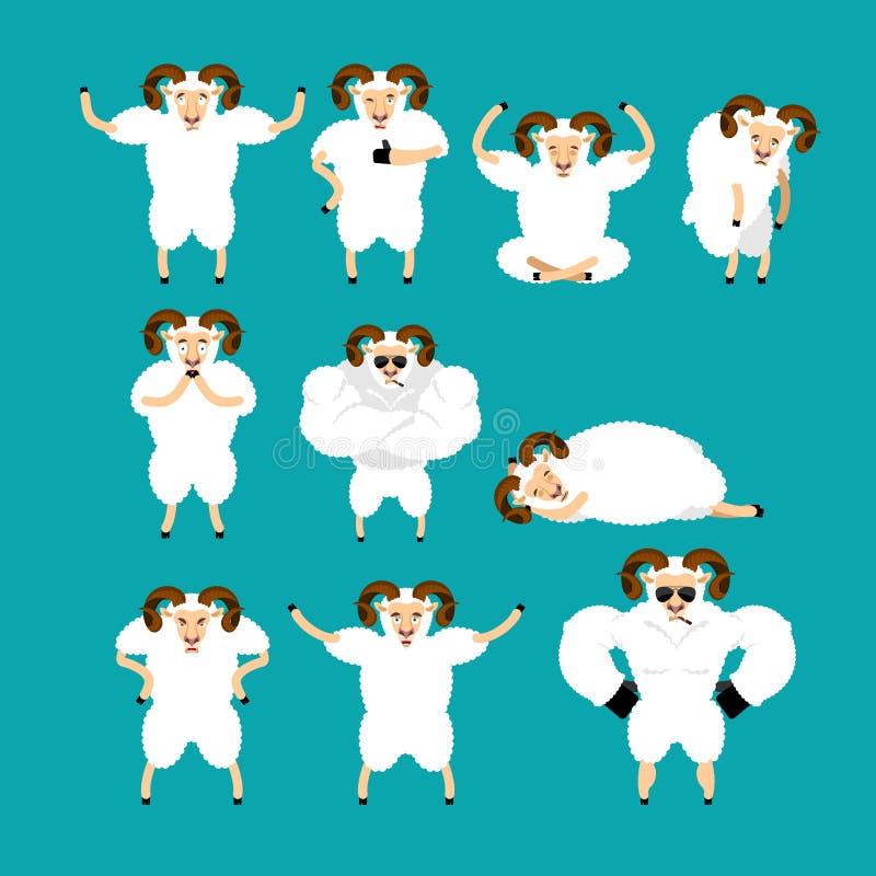 Представления и движение комплекта Ram Животноводческая ферма счастливая и йога Овцы иллюстрация штока
