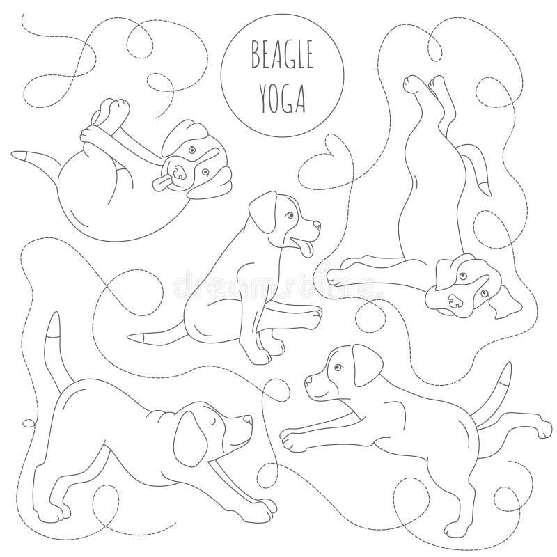 Представления и тренировки собак йоги Clipart бигля Простая линия дизайн бесплатная иллюстрация