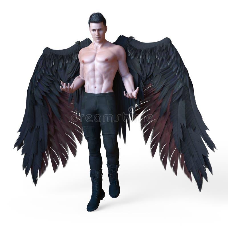 Представлять красивого мужского темного ангела с черными крыльями иллюстрация вектора