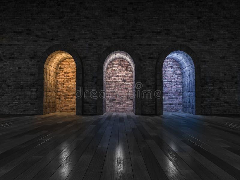 представлять свет 3 цветов каменной двери свода бесплатная иллюстрация