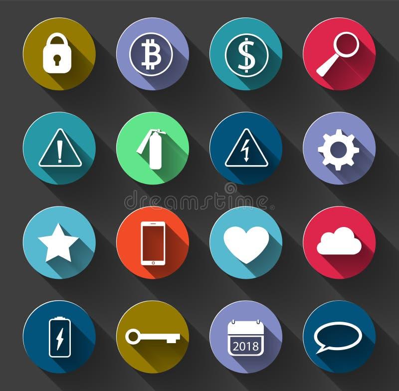 Предупредительные знаки и социальные значки установили с длинной тенью Используемые символы бесплатная иллюстрация