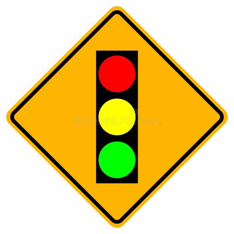 Предупредительный знак светофора, иллюстрация вектора, изолят на бело иллюстрация штока
