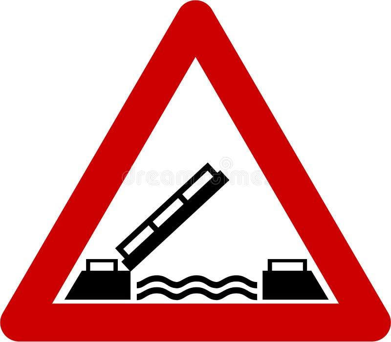 Предупредительный знак с drawbridge иллюстрация штока