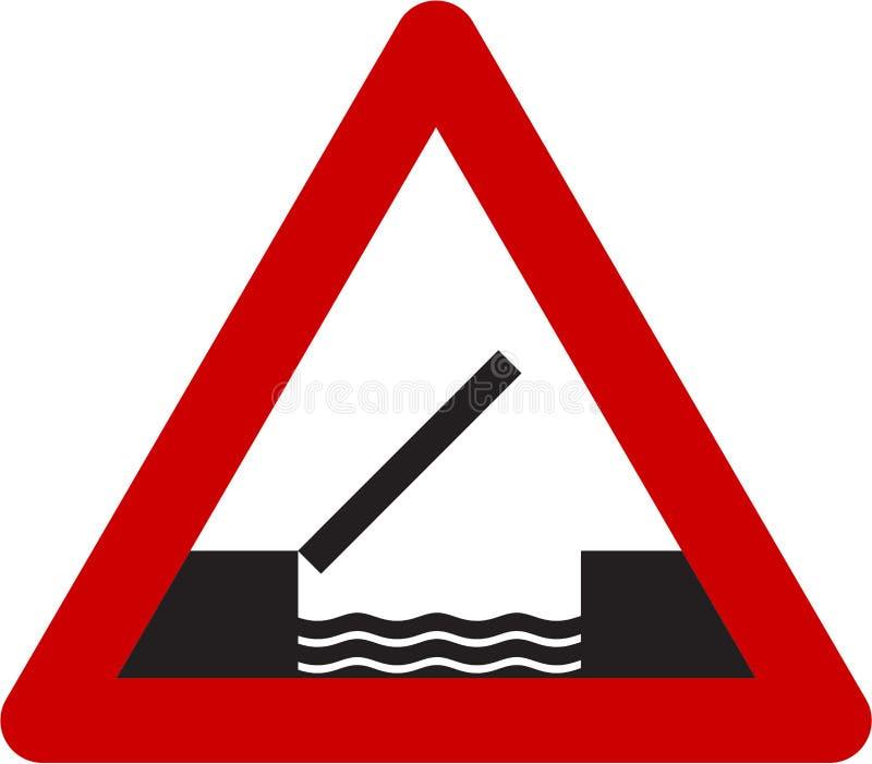 Предупредительный знак с drawbridge иллюстрация вектора