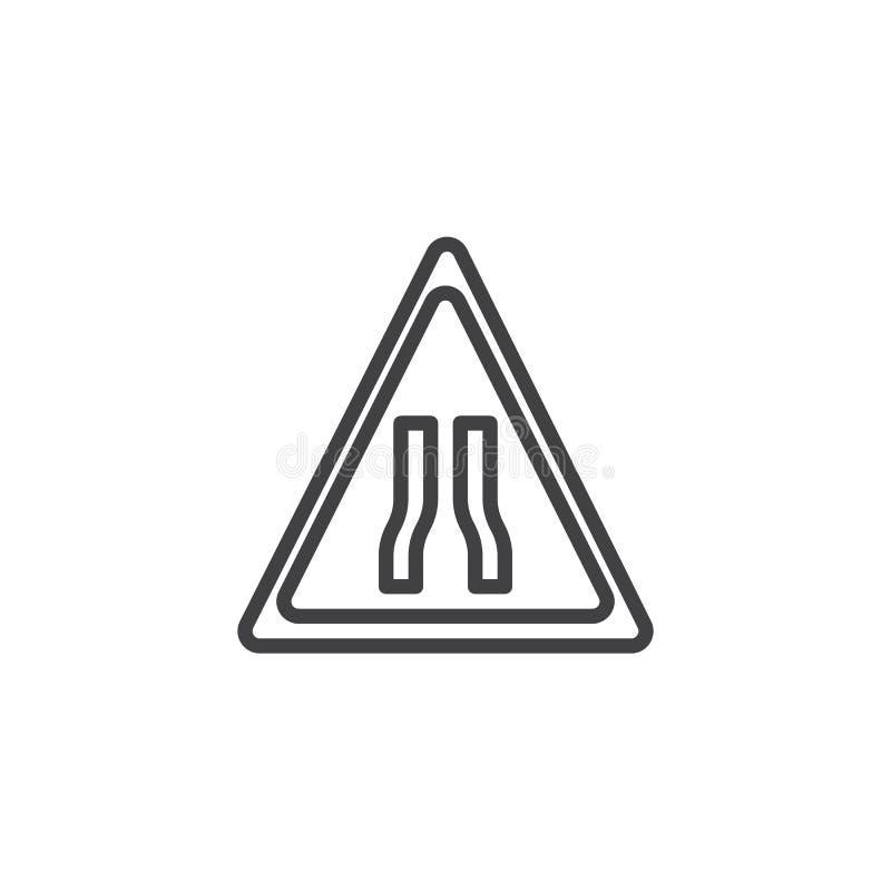 Предупреждающая линия значок знаков уличного движения узкой дороги вперед иллюстрация штока