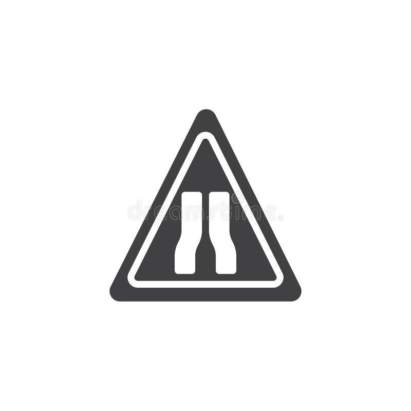 Предупреждающий вектор значка знаков уличного движения узкой дороги вперед бесплатная иллюстрация