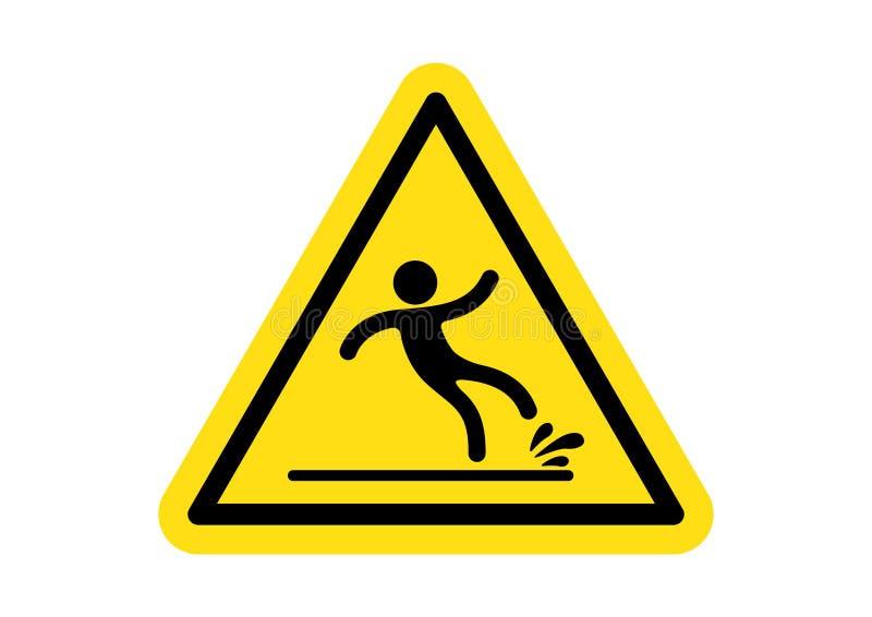 Предупреждающий влажный сигнал ярлыка пола иллюстрация штока
