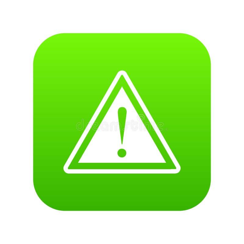 Предупреждающий знак внимания с зеленым цветом значка восклицательного знака цифровым иллюстрация штока