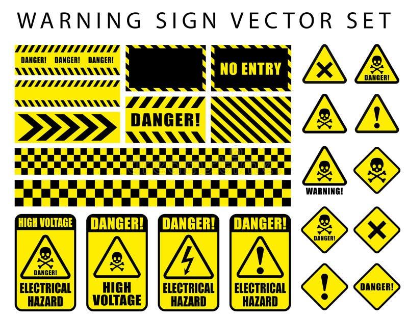 Предупреждая набор знака опасности, значок черепа, электрическая опасность, высоковольтный текст на цвете b рамки прямоугольника  иллюстрация штока