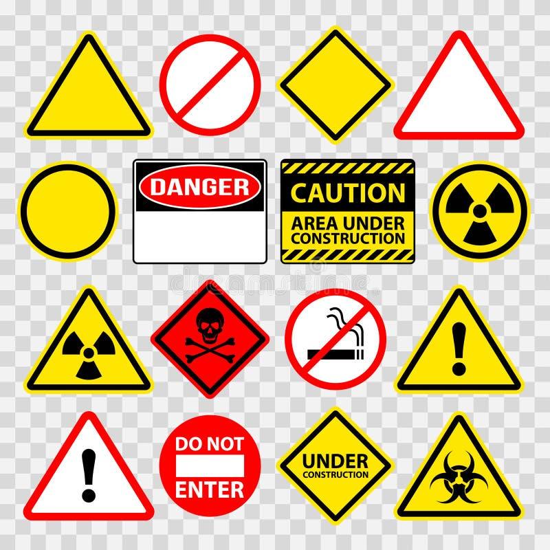 Предупреждая опасность под конструкцией поет набор вектора значков иллюстрация вектора