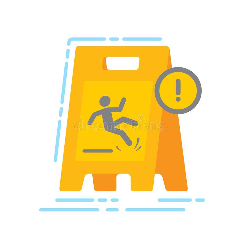 Предупреждая плита с падая значком цвета человека плоским Знак для интернет-страницы, мобильного приложения, знамени Изолированны бесплатная иллюстрация
