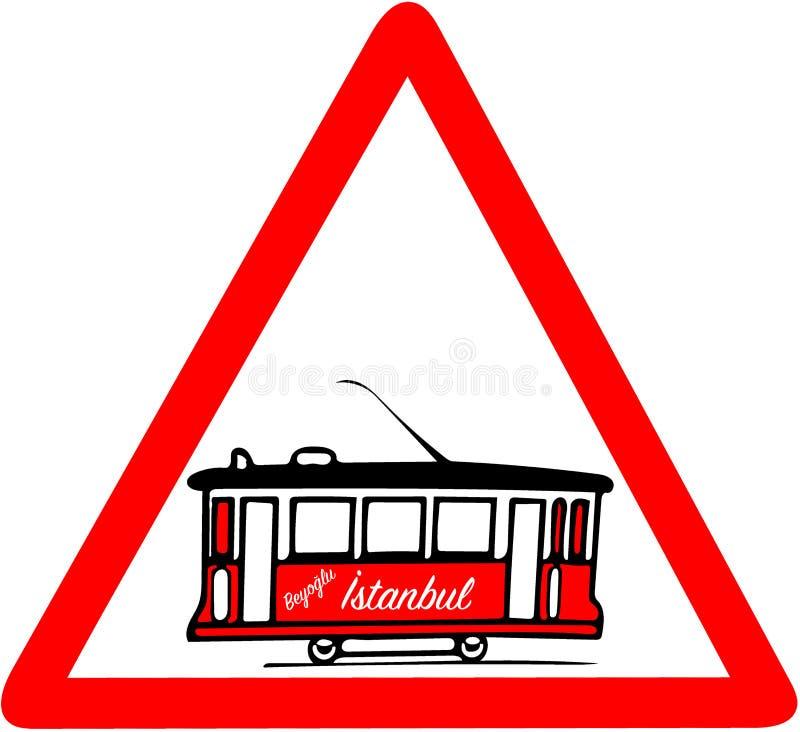 Предупреждение дорожного знака ностальгической красной трамвайной линии красное триангулярное иллюстрация штока