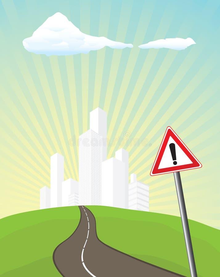предупреждение дорожного знака иллюстрация вектора