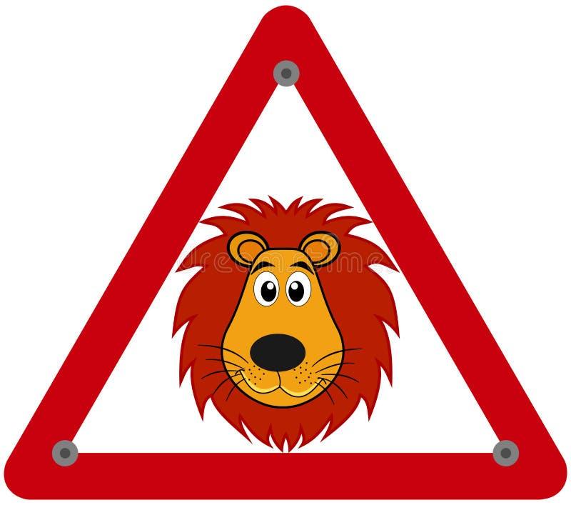 Предупреждение знака опасности льва иллюстрация вектора