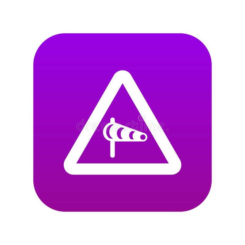 Предупреждение знака о поперечном ветере от пурпура левого значка цифрового иллюстрация штока