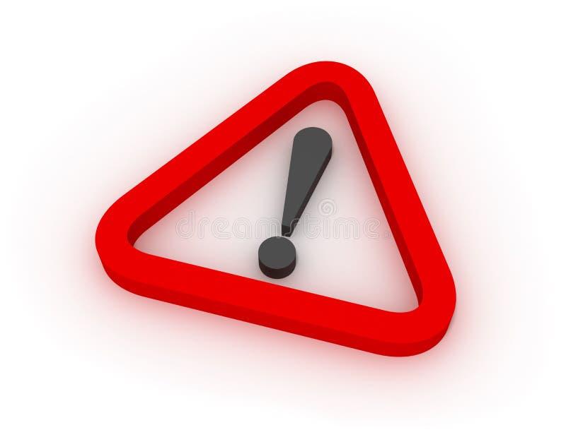 предупреждение красного знака 3d триангулярное иллюстрация штока