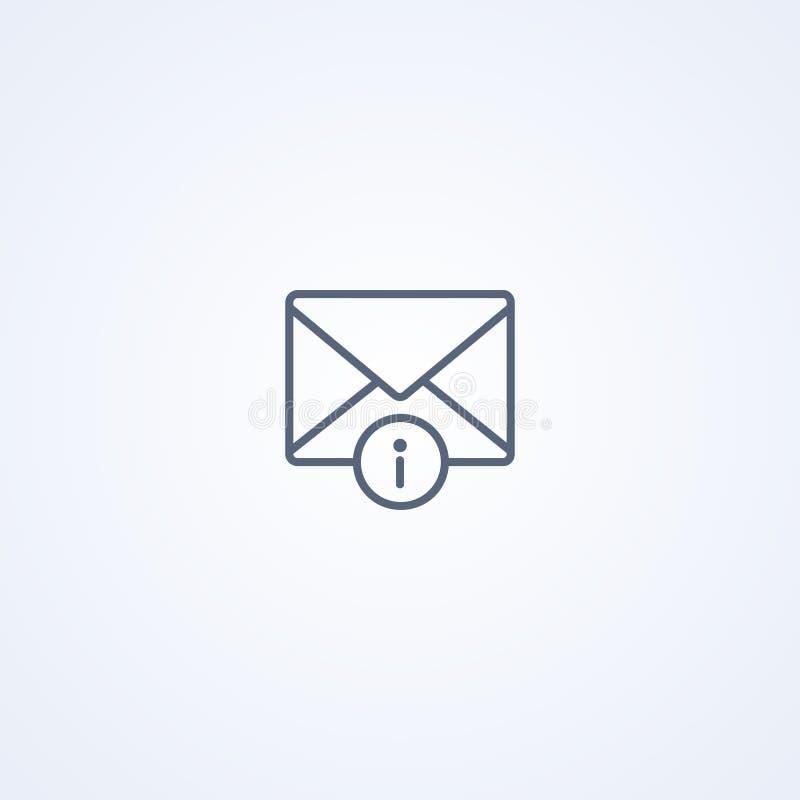 Предупреждение почты, линия значок вектора самая лучшая серая бесплатная иллюстрация