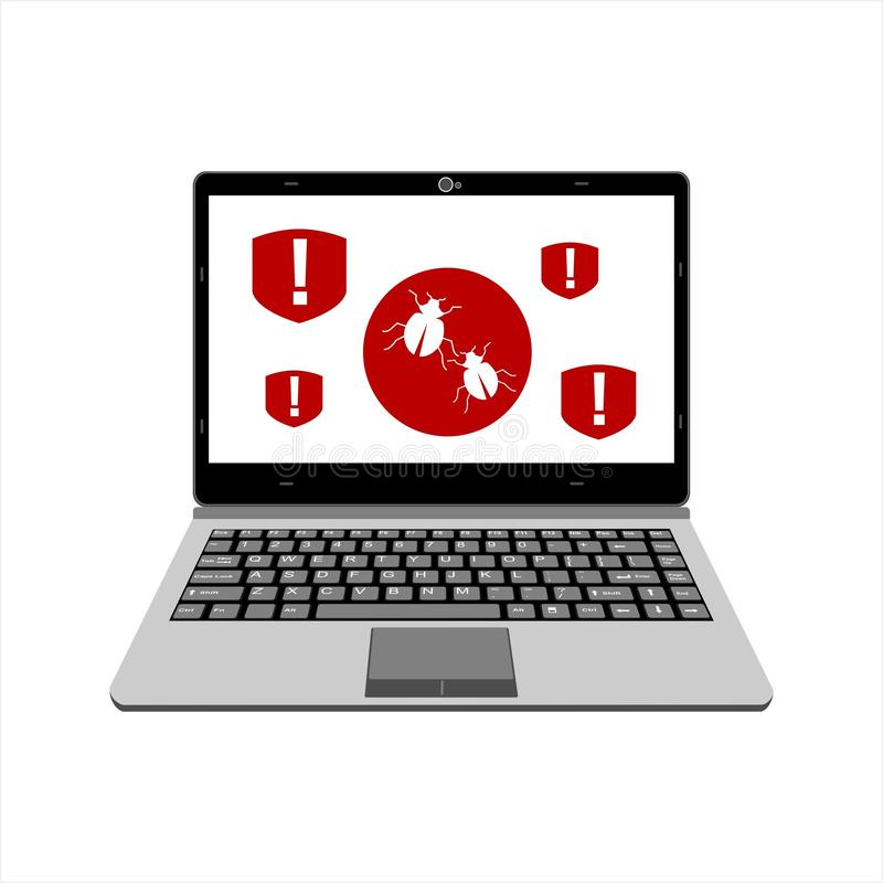 Предупреждение реалистического дисплея иллюстрации вектора ноутбука бдительное для компьютерного вируса бесплатная иллюстрация