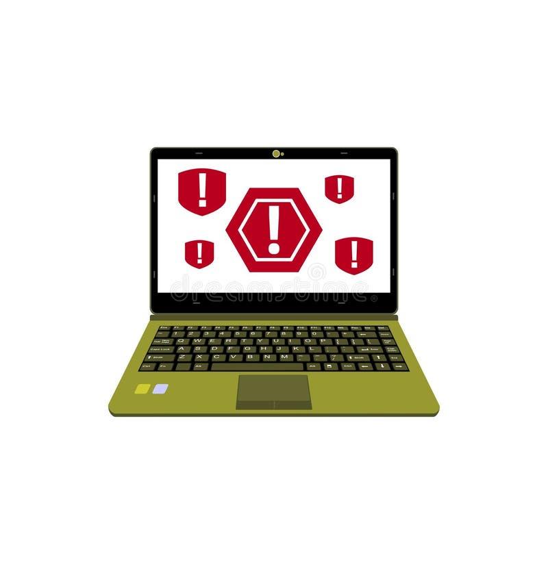 Предупреждение реалистического дисплея иллюстрации вектора ноутбука бдительное для компьютерного вируса иллюстрация штока