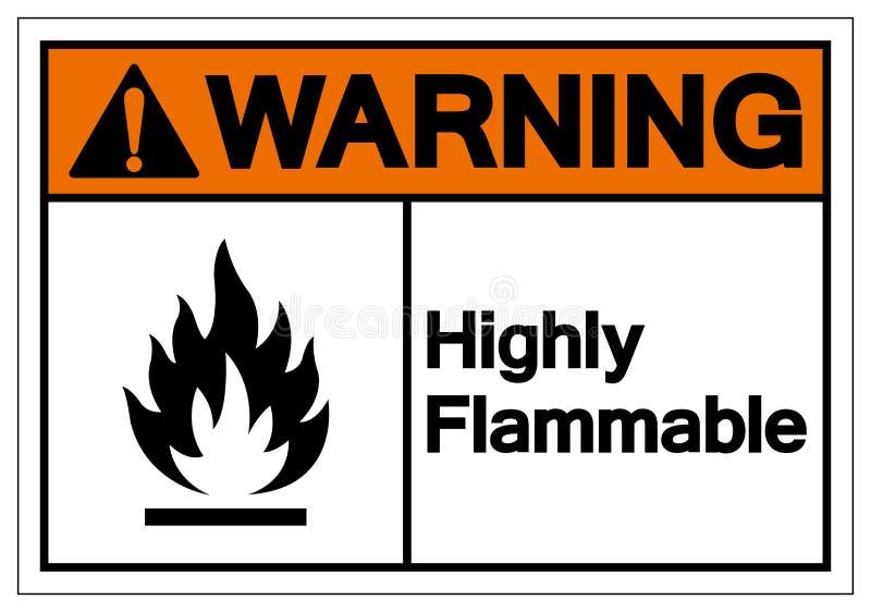 Предупреждение сильно огнеопасного знака символа, иллюстрация вектора, изолят на белом ярлыке предпосылки EPS10 иллюстрация вектора