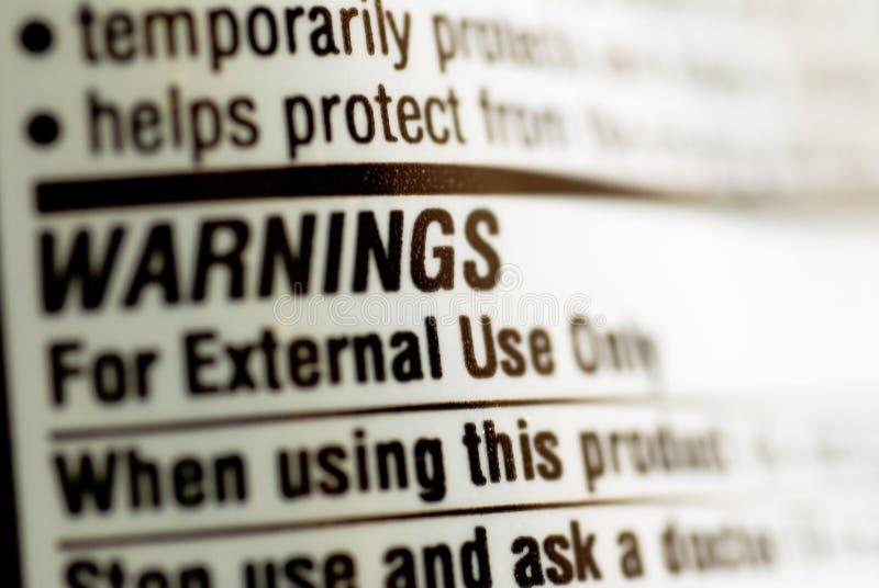 предупреждение ярлыка снадобья стоковые изображения