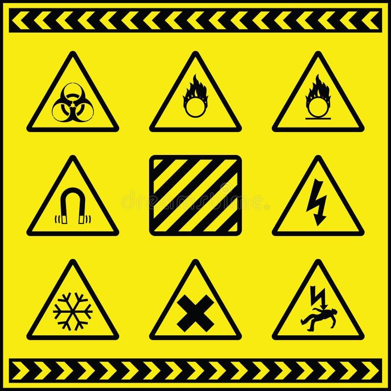 предупреждение 3 знаков опасности иллюстрация вектора