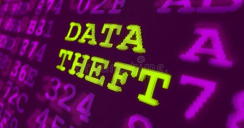 Предупреждения кибер атаки и компьютерной безопасности - похищение данных бесплатная иллюстрация