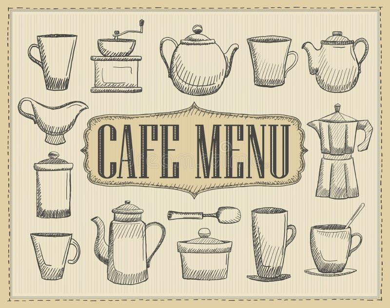 Предусматрива меню кафа с иллюстрацией руки вычерченной столового прибора старого стиля бесплатная иллюстрация