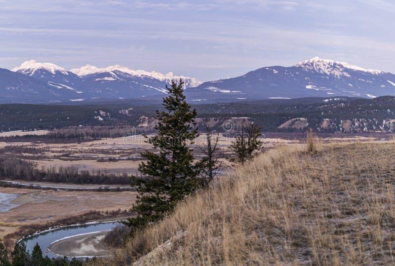 предыдущее утро весны на горячих источниках радия Рекы Колумбия valleynear со скалистыми горами на предпосылке стоковое изображение rf