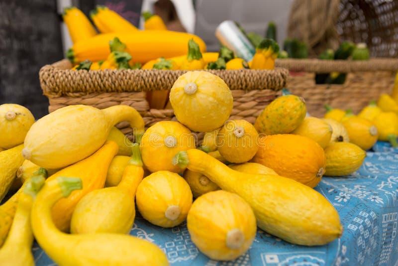 Предыдущий золотой сквош лета на рынке фермеров стоковая фотография rf