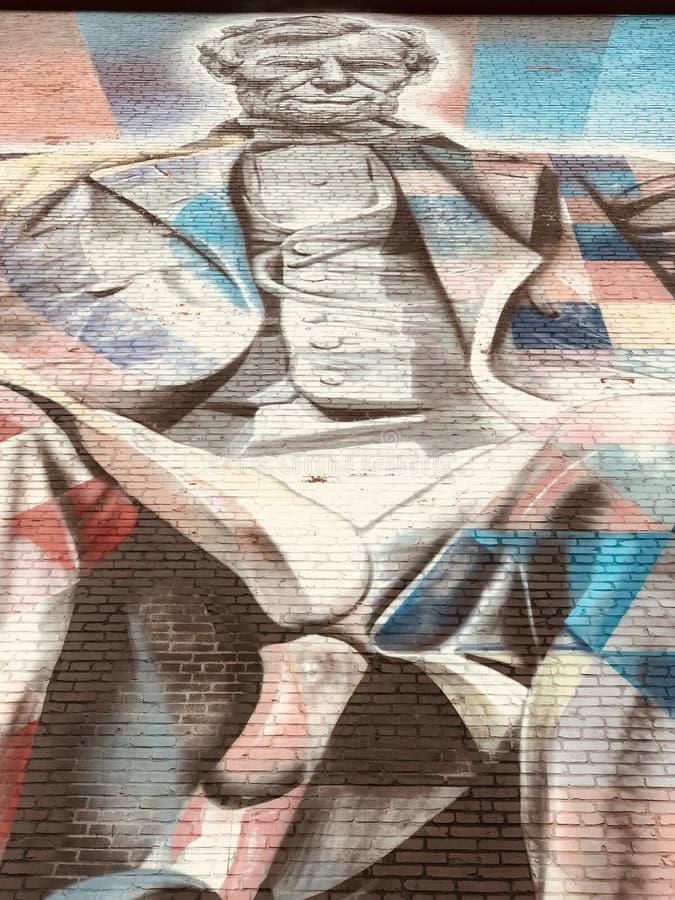 ПРЕЗИДЕНТСКАЯ СЛАВА - красочная настенная роспись президента Авраама Линкольна - LEXINGTON - КЕНТУККИ стоковая фотография
