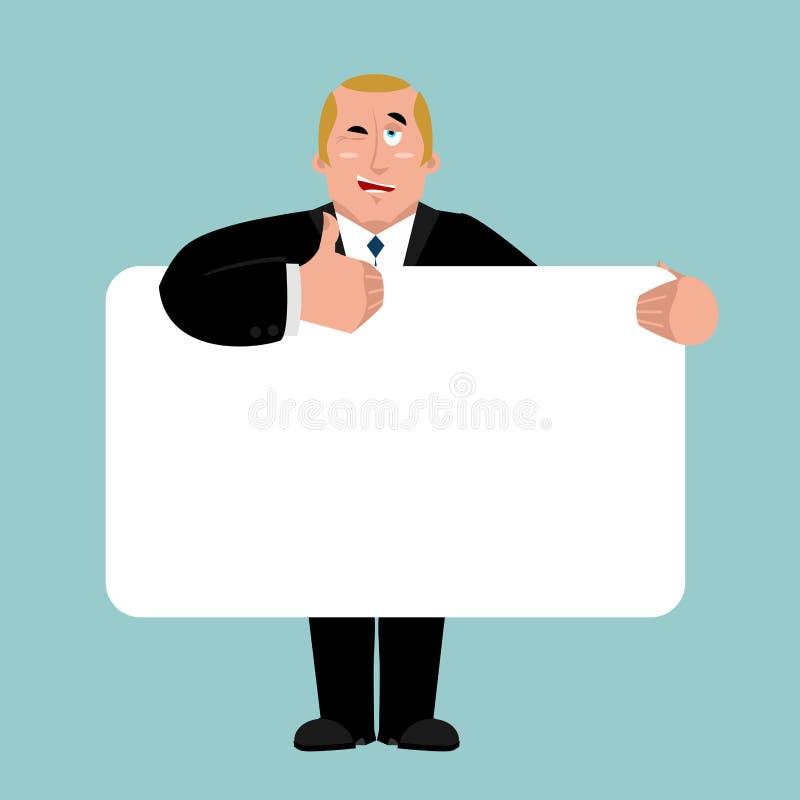 Президент держа пробел знамени босс и белый пробел Businessma иллюстрация вектора