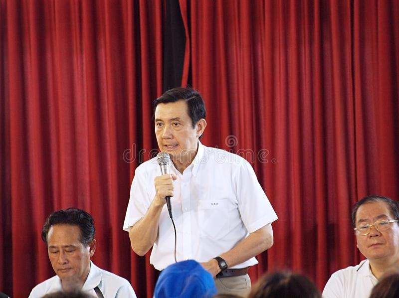 президент ma говорит taiwan к жертвам таифуна стоковое фото