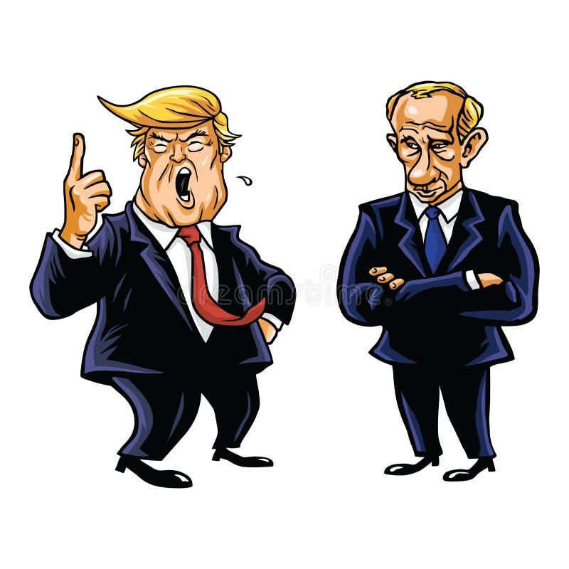 Президент Дональд Трамп и русская иллюстрация США портрета карикатуры шаржа вектора президента Владимира Путина иллюстрация штока