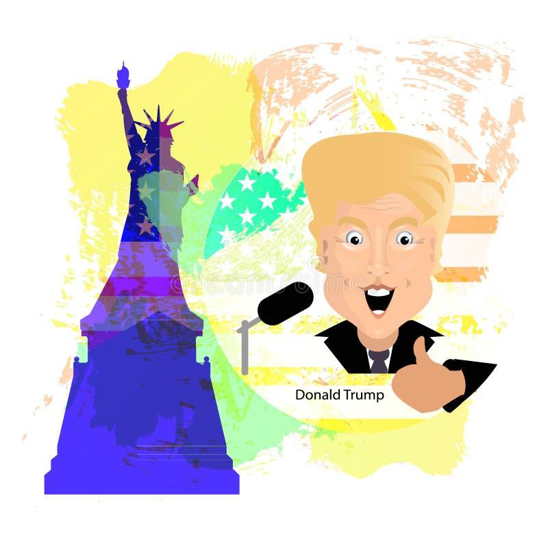 Президент Соединенных Штатовов Дональд Трамп иллюстрация вектора