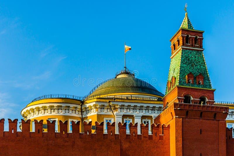 Президент стандарта России над Кремлем стоковые фотографии rf