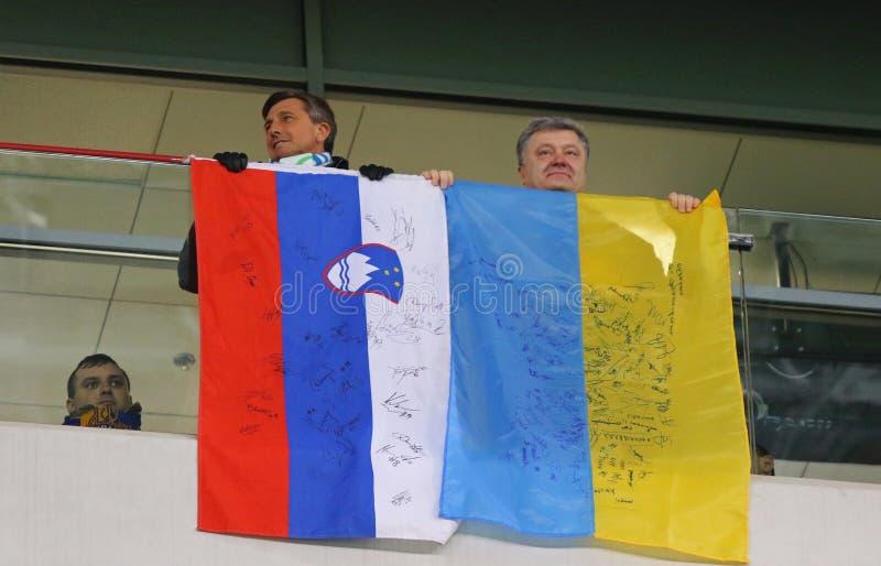 Президент Словении Borut Pahor и президент Украины Petro стоковое фото