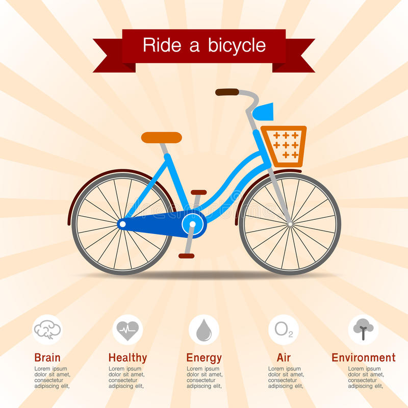 Преимущества езды велосипед иллюстрация штока